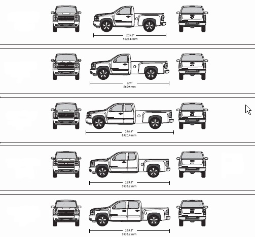 Chevy Truck Bed Dimensions Chart vehicle template