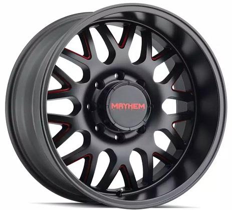 Mayhem Matte Black & Red Tripwire Wheels