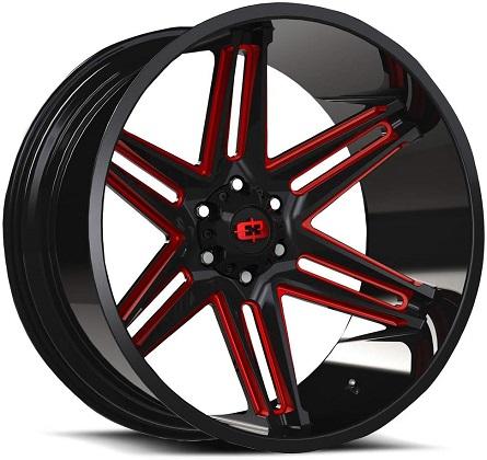 Vision Black and Red Razor 363 Rims