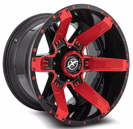 XF Offroad Gloss Black and Red Rims XF-214